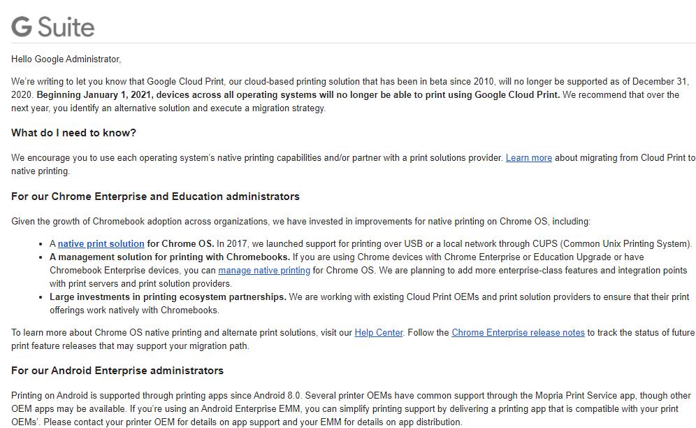 Google zamyka kolejny projekt - tym razem padło na Cloud Print