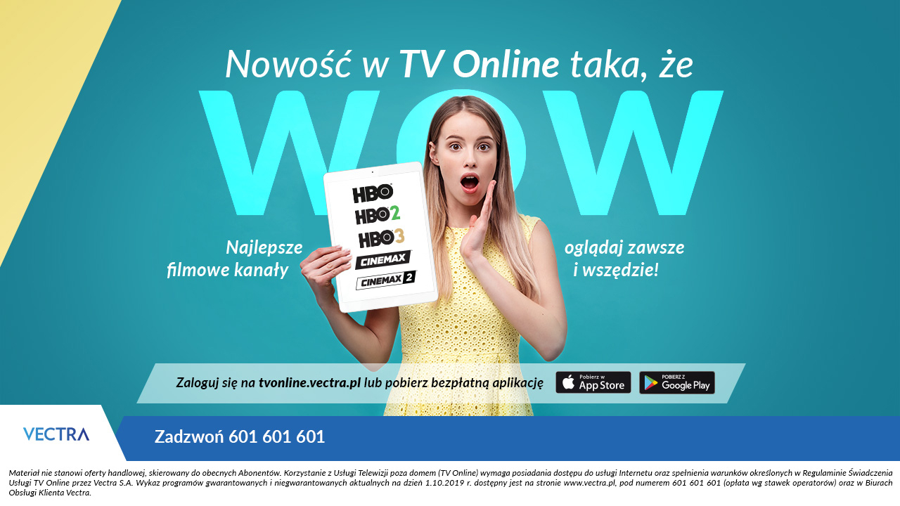 Do oferty aplikacji TV Online od Vectry dołącza pakiet kanałów HBO i Cinemax 20