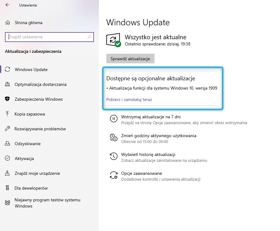 aktualizacja Windows 10 November 2019