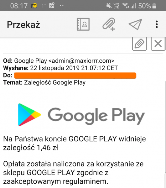 Ktoś w Polsce podszywa się pod Google Play i rozsyła maile z wezwaniem do zapłaty zaległości