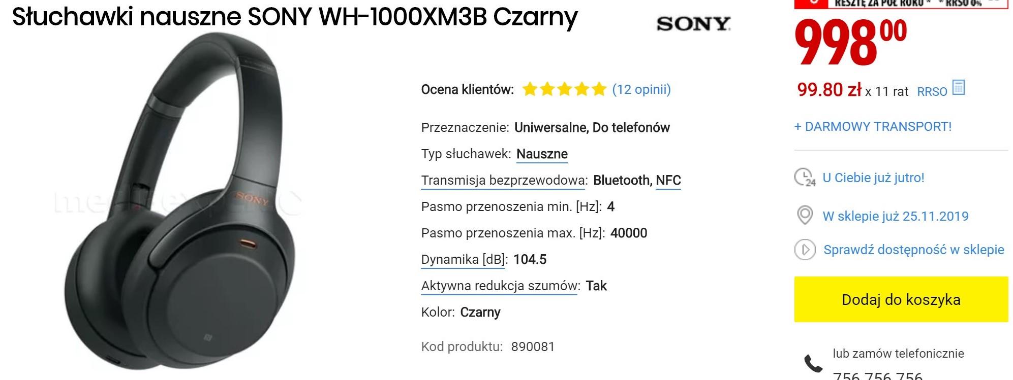 Bezprzewodowe słuchawki Sony WH-1000XM3 w świetnej cenie - brać! 21
