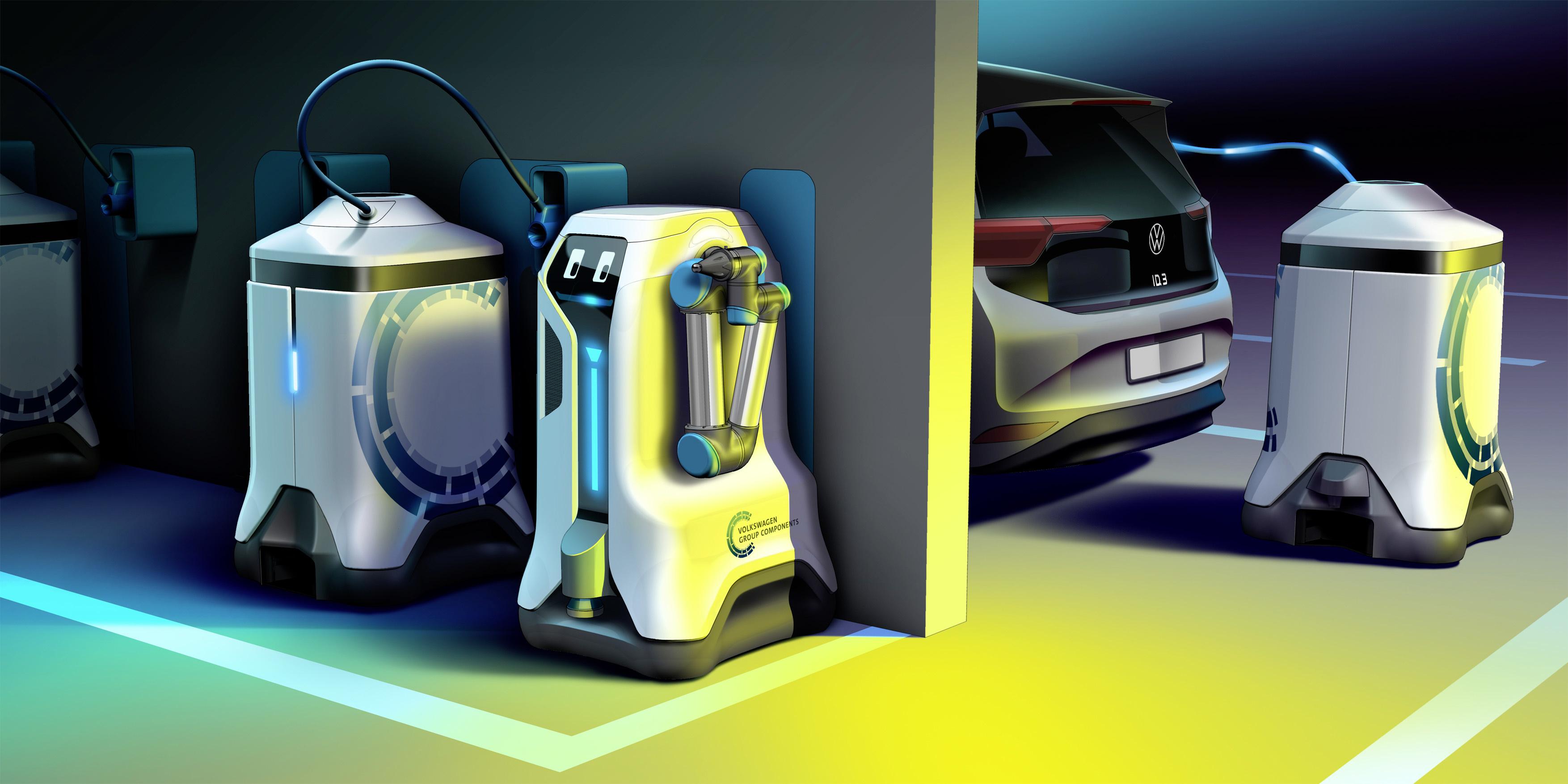 """Volkswagen pracuje nad robotem """"tankującym"""" samochody elektryczne"""