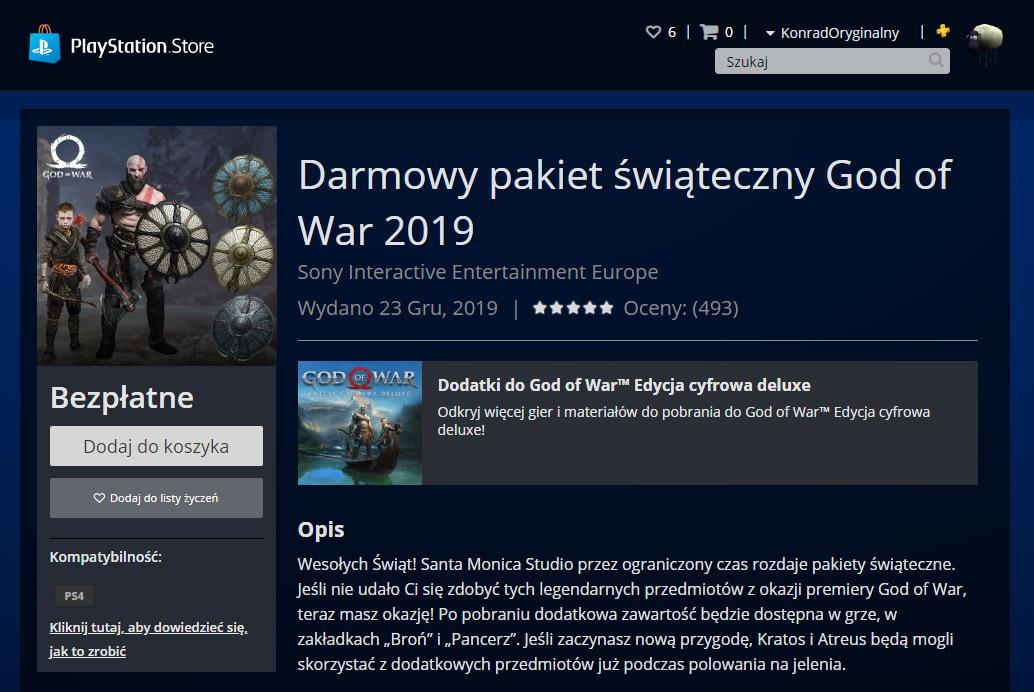 Darmowe przedmioty do God of War z okazji świąt