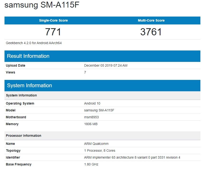 Samsung Galaxy A11 SM-A115F Geekbench