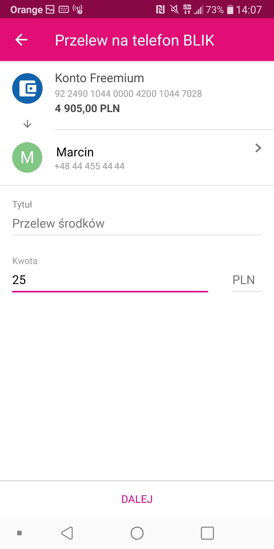 Przelewy na telefon BLIK dostępne w T-Mobile Usługi Bankowe 19