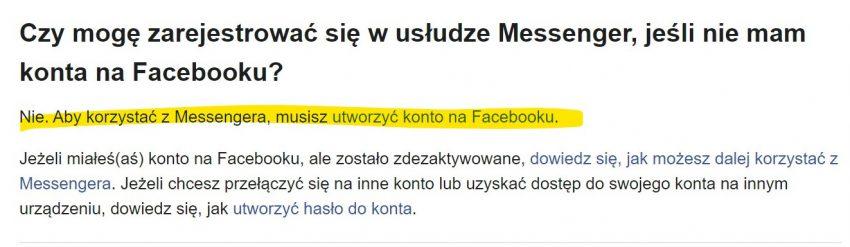 Rejestracja nowego użytkownika w Messengerze bez konta na Facebooku nie jest już możliwa