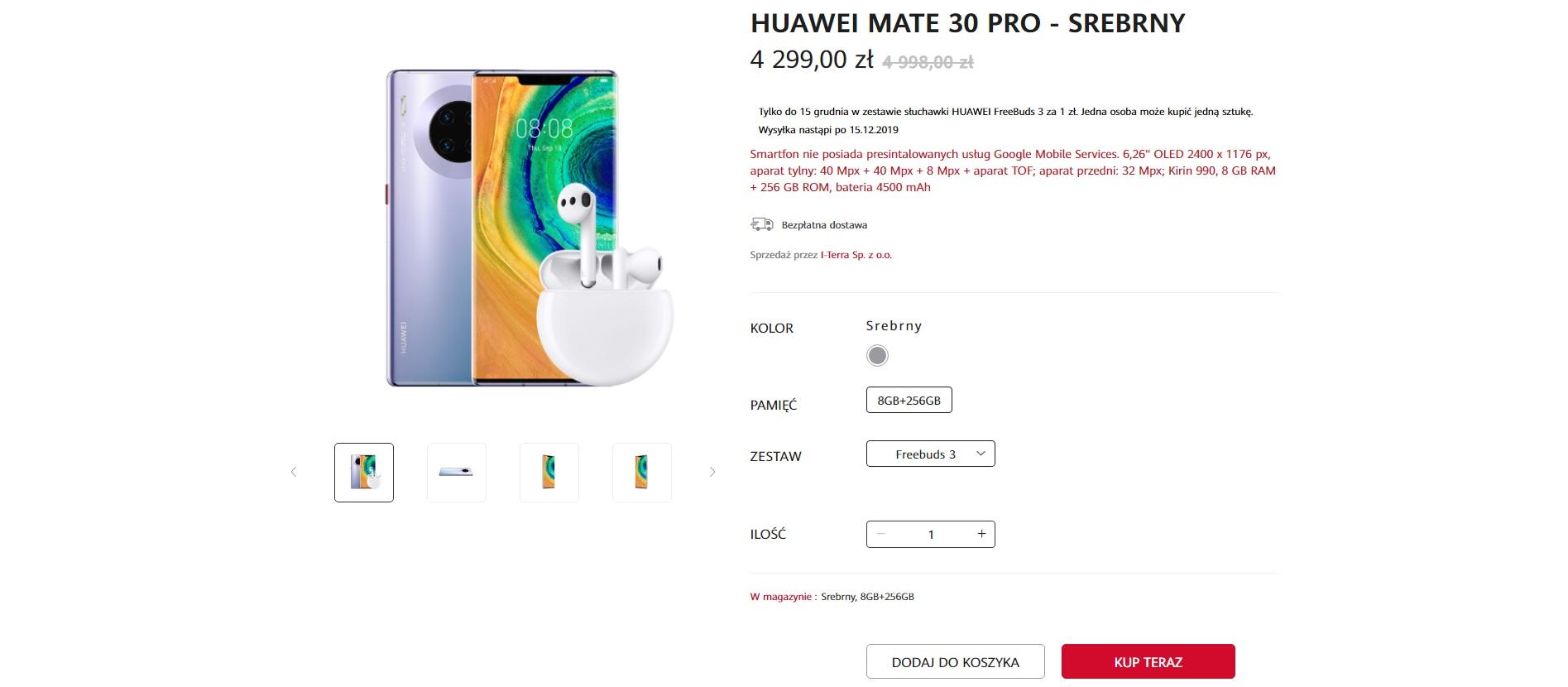 smartfon Huawei Mate 30 Pro przedsprzedaż Polska (źródło Huawei.pl)