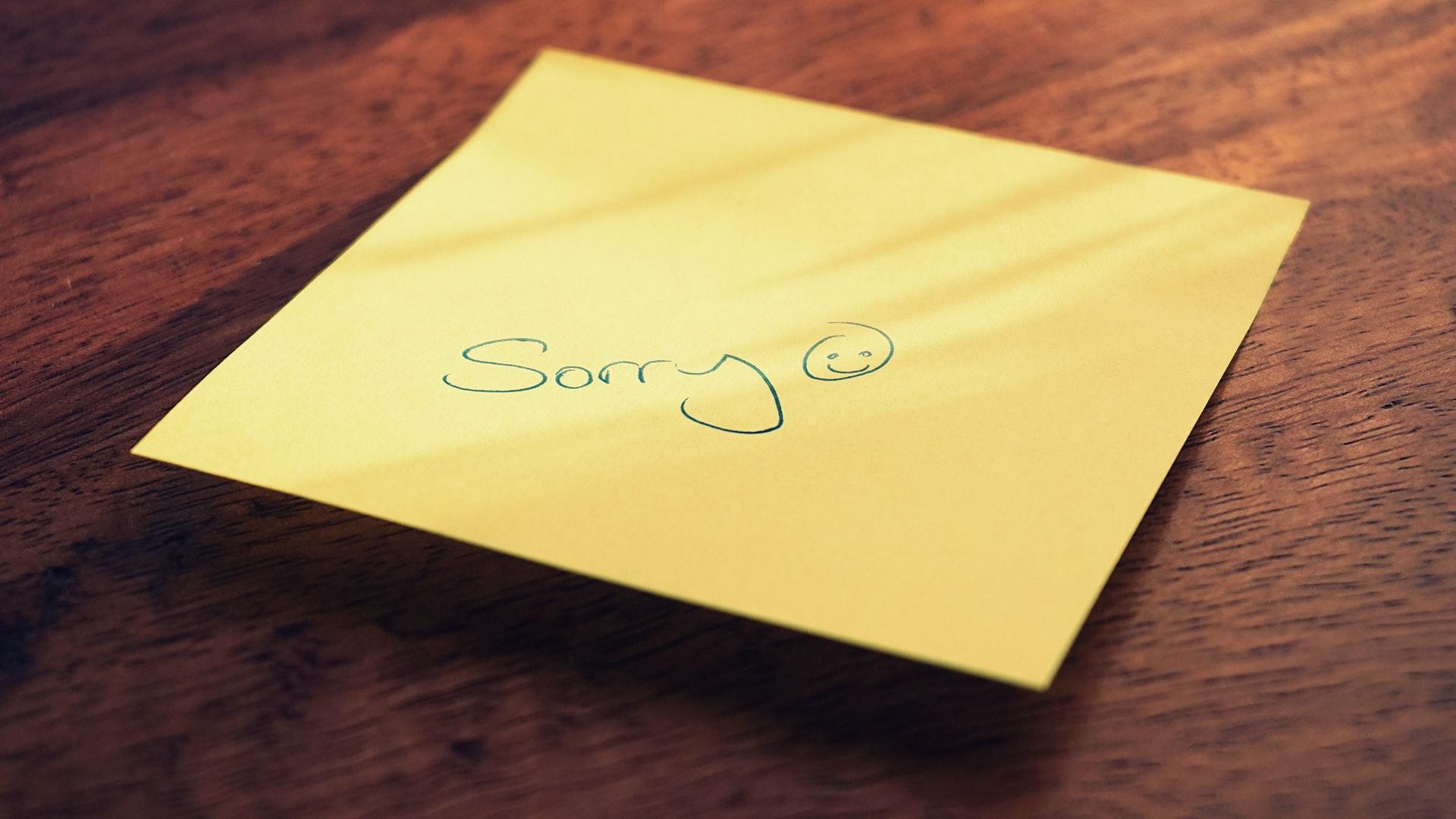 sorry przepraszam przeprosiny kartka