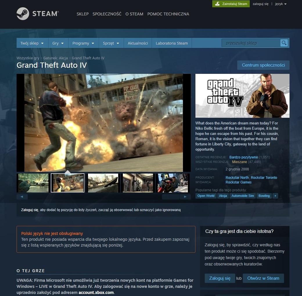 GTA IV wyleciało ze Steam. Powód? Nasz stary znajomy...