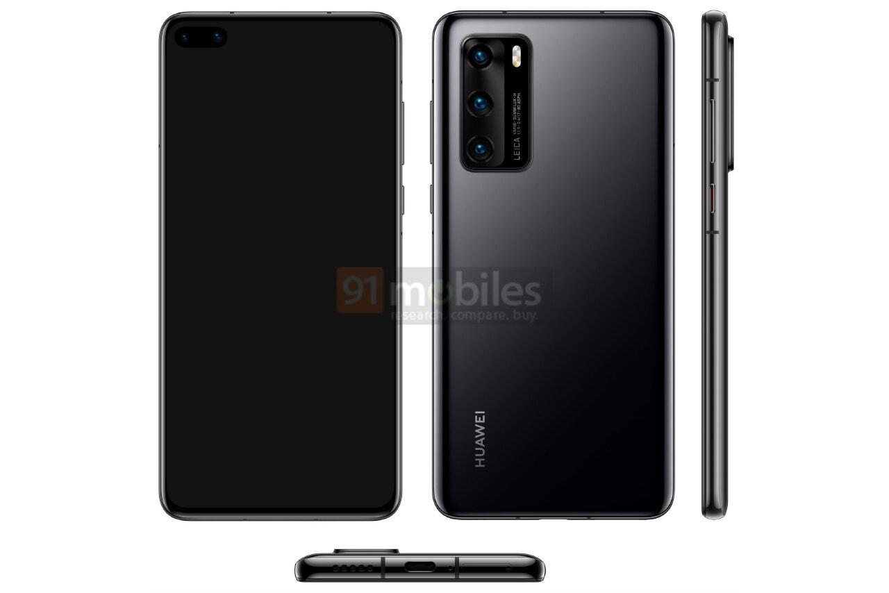 Huawei P40 na oficjalnej grafice prasowej! Otwór w wyświetlaczu i brak gniazda słuchawkowego