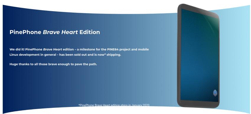 smartfon PinePhone Brave Heart Edition