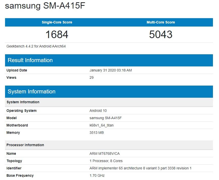 Samsung Galaxy A40s MediaTek Helio P65