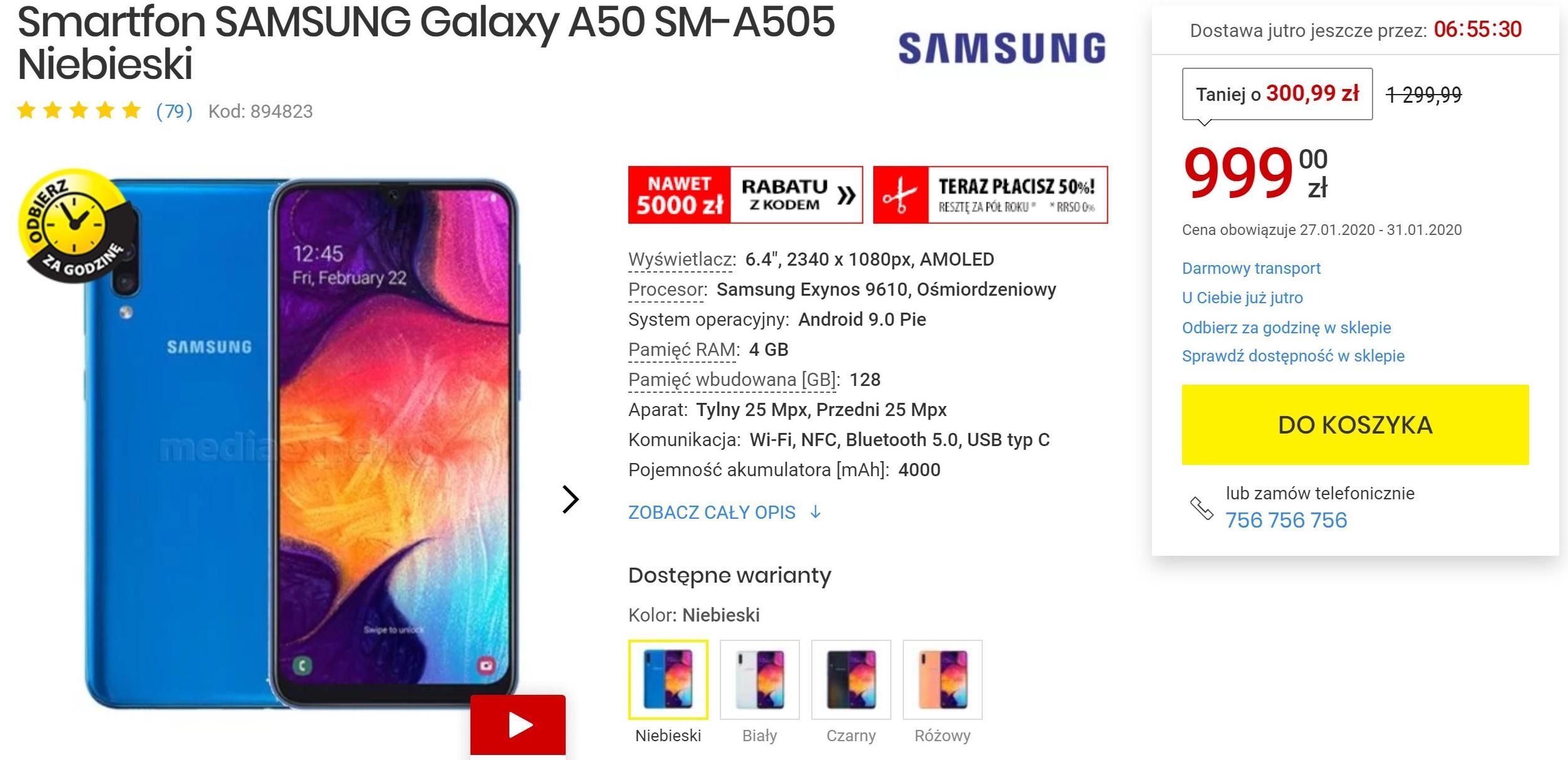 Spadła cena Samsunga Galaxy A50. Bralibyście za tysiaka?