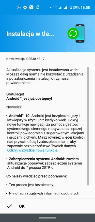Motorola One Action Android 10 update