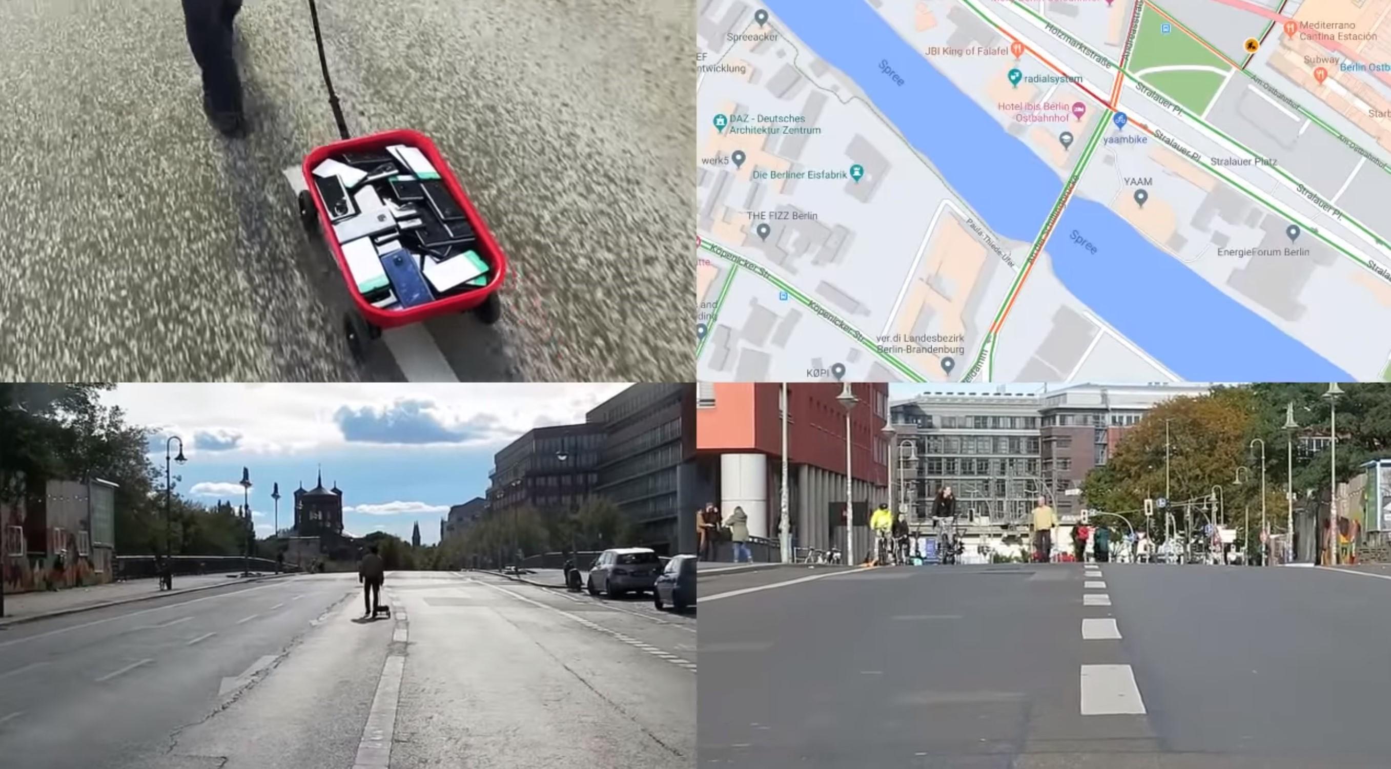 Denerwuje cię wzmożony ruch uliczny? Wystarczy 99 smartfonów i czterokołowy wózek