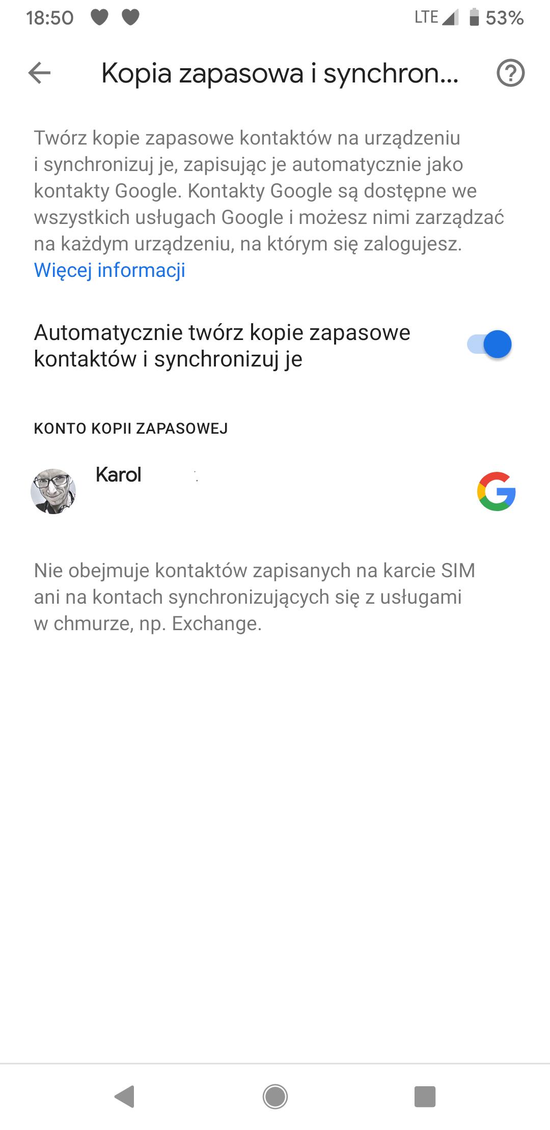Kontakty Google dostają opcję tworzenia kopii zapasowych numerów zapisanych lokalnie 22