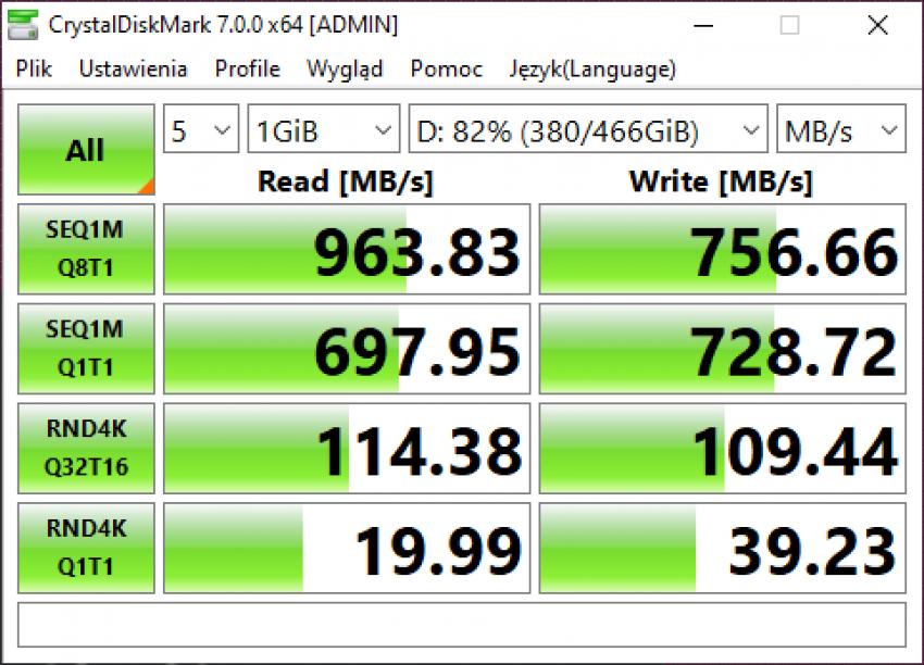 Samsung Portable SSD T7 Touch - dysk chroniony odciskiem palca (test) 38