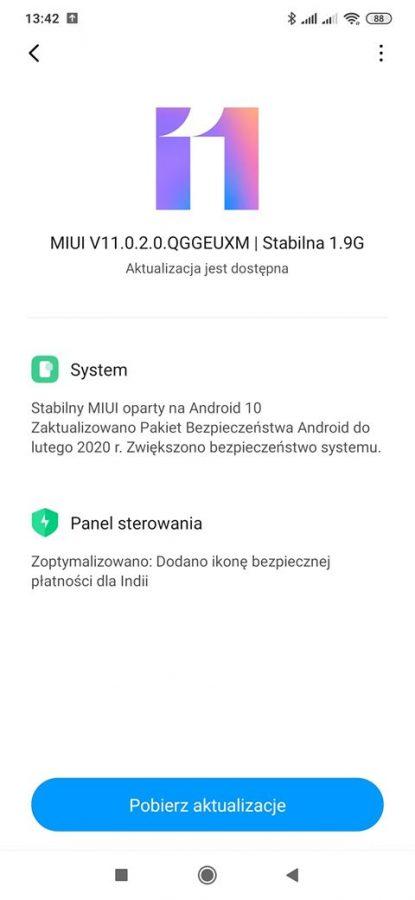 Redmi Note 8 Pro Android 10 aktualizacja