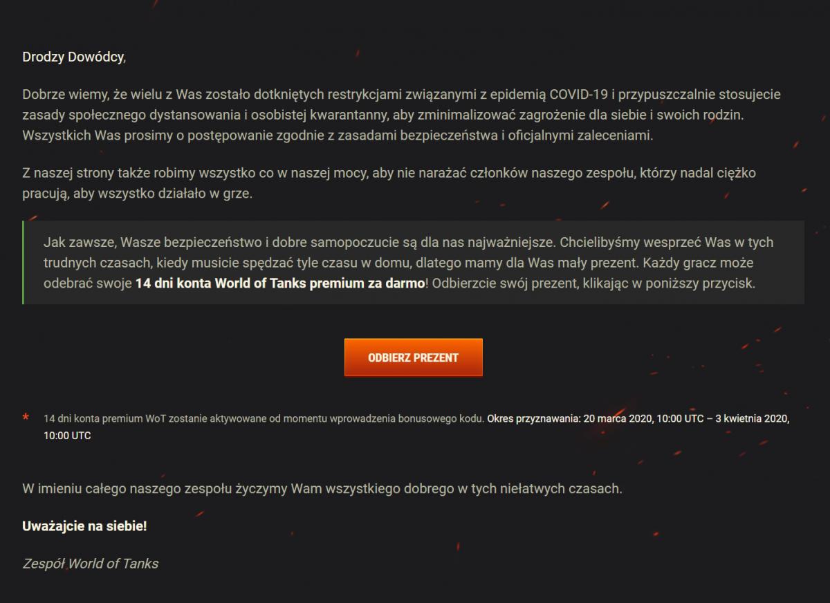 Dwa tygodnie darmowego konta Premium w grach studia Wargaming