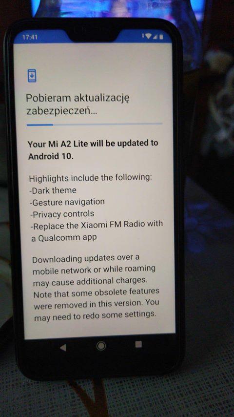 Xiaomi Mi A2 Lite Android 10 update