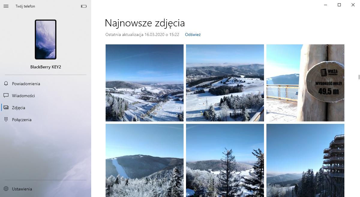 Twój telefon w Windows 10 - zdjęcia