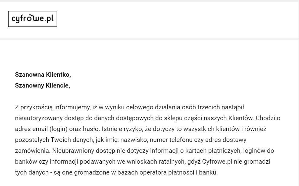 Wyciekły dane klientów sklepu Cyfrowe.pl [AKTUALIZACJA] 17