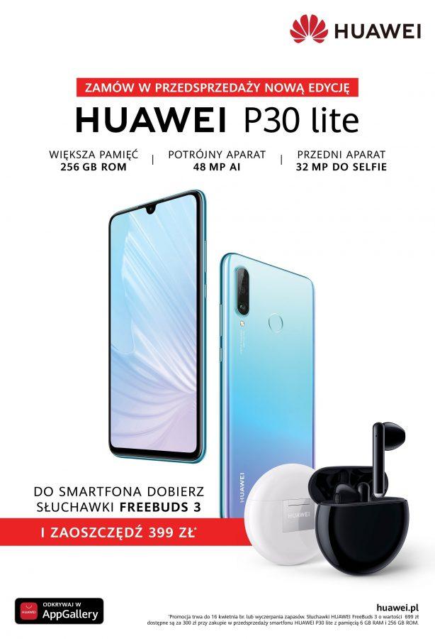 Huawei P30 Lite w nowej wersji dostępny w Polsce. W przedsprzedaży słuchawki FreeBuds 3 za 300 zł