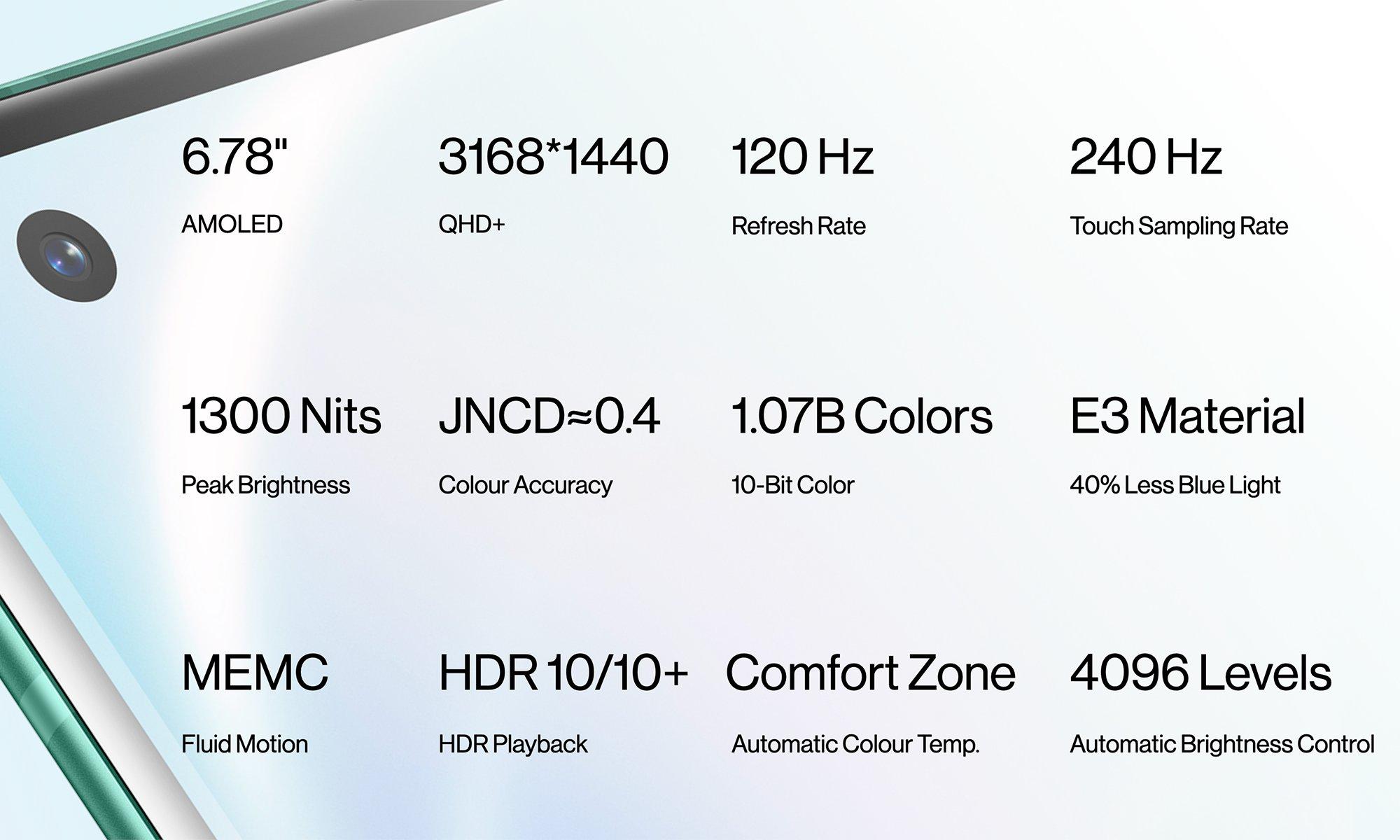 OnePlus 8 Pro screen display specs