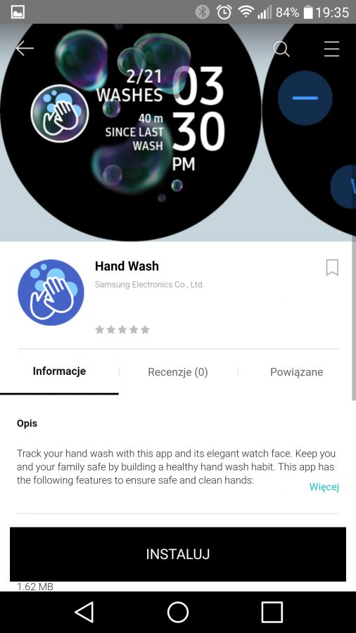 Hand Wash app Samsung Galaxy Watch smartwatches