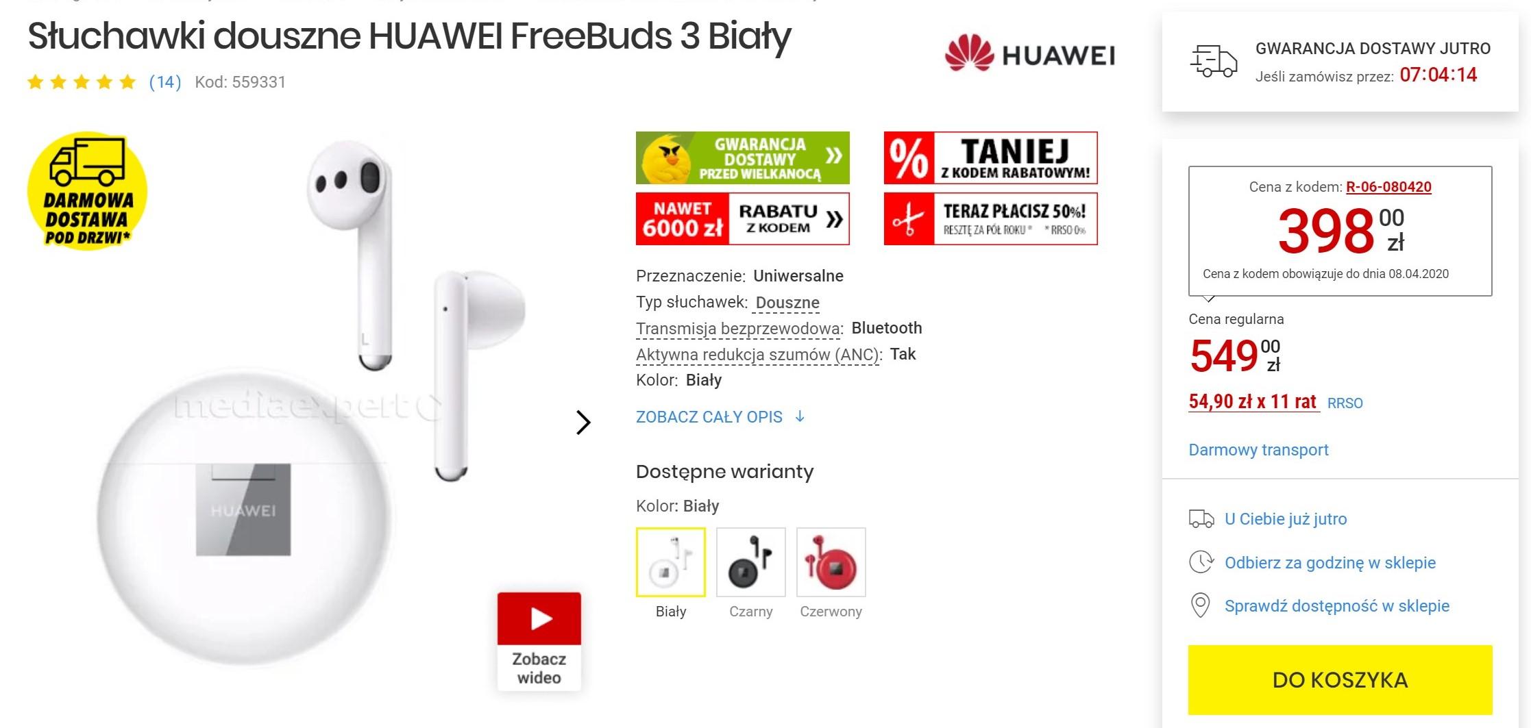 Tylko dziś: słuchawki z redukcją szumów Huawei FreeBuds 3 za mniej niż 400 zł