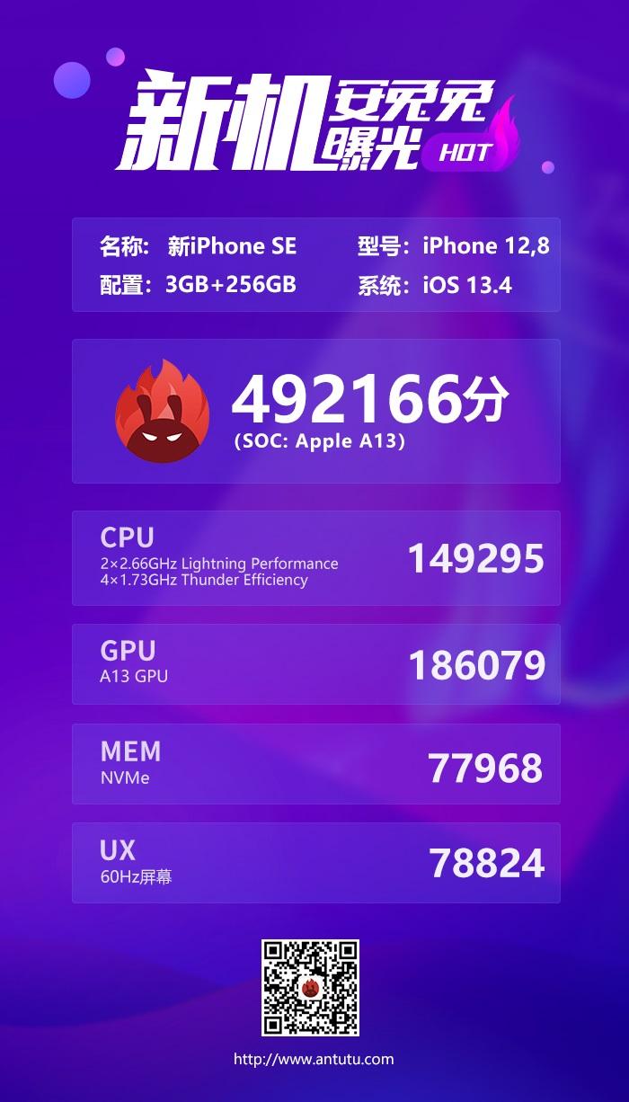iPhone SE 2020 AnTuTu result