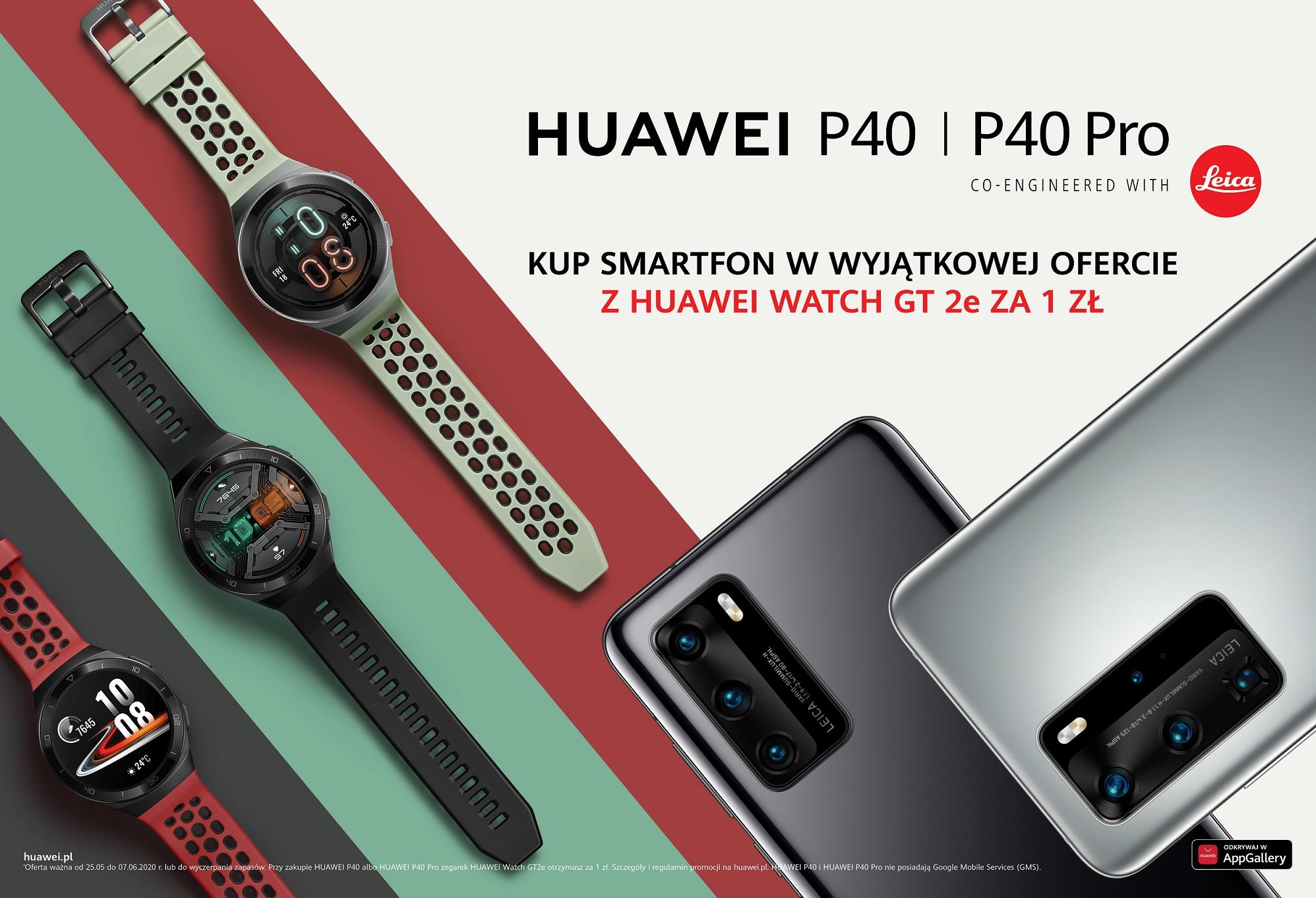 Przy zakupie smartfonów Huawei P40 i P40 Pro, dostaniesz zegarek Watch GT 2e 20