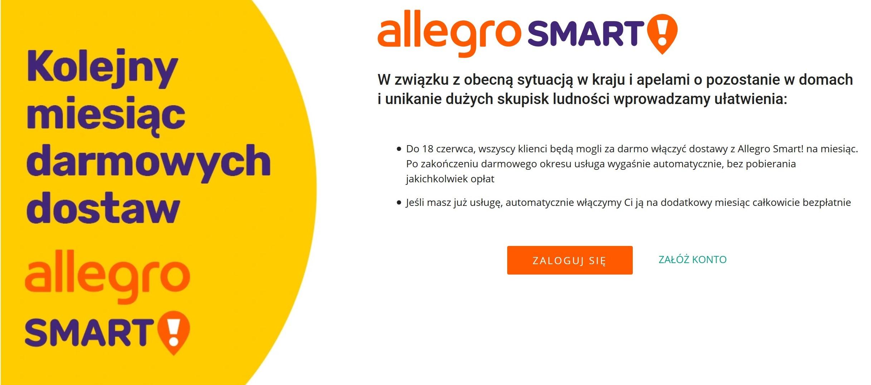 Darmowe dostawy z Allegro Smart! przedłużone o jeszcze jeden miesiąc