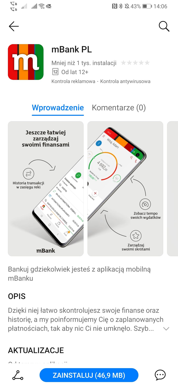 aplikacja mBank Huawei AppGallery