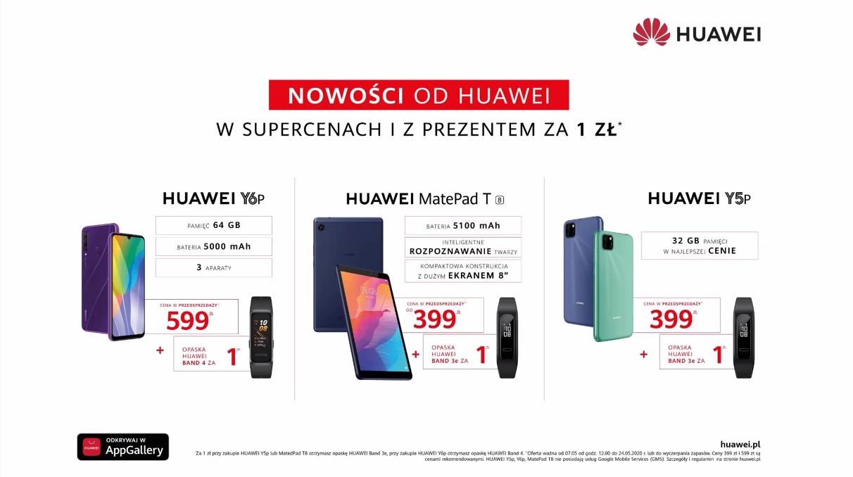Premiera Huawei Y5p i Y6p. Niskie ceny i smartband za złotówkę!