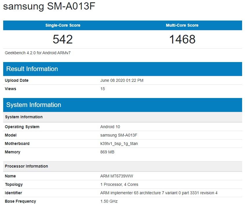 Samsung Galaxy A01e SM-A013F Geekbench