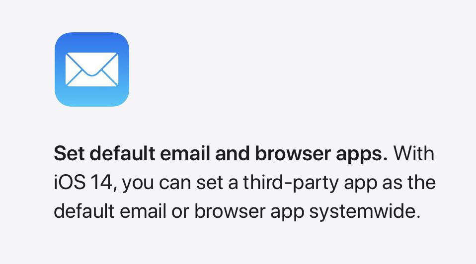 iOS 14 zmiana domyślnych aplikacji