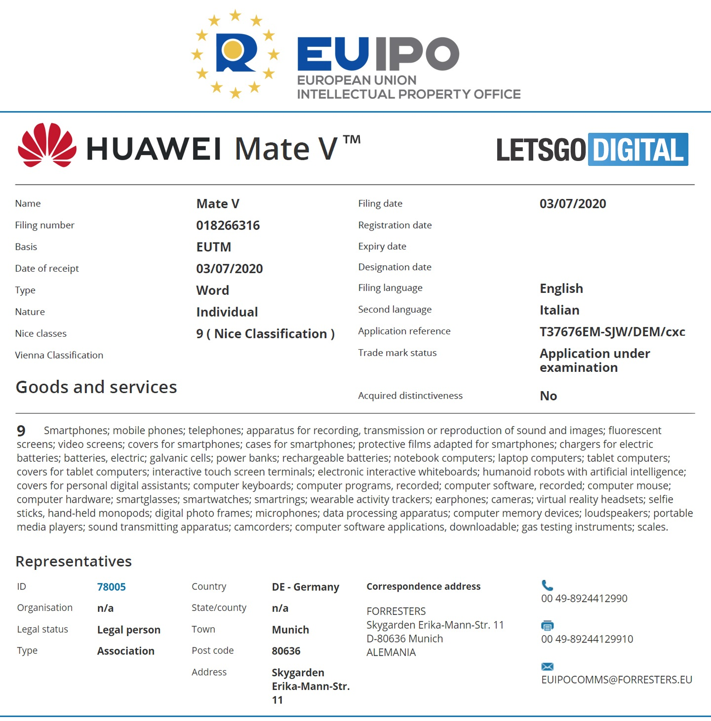Huawei Mate V EUIPO