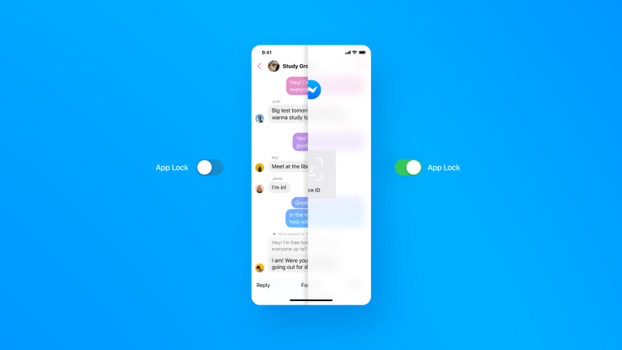Messenger z obsługą Face ID i Touch ID.