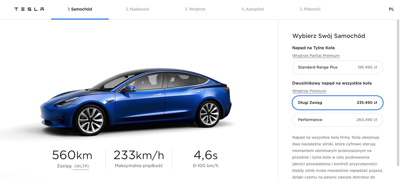 Tesla – polski konfigurator.