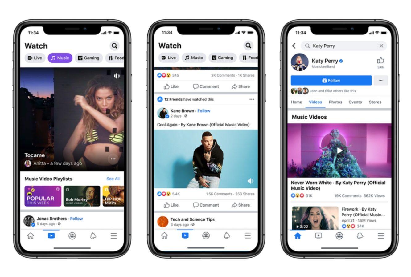 Facebook – teledyski w aplikacji.