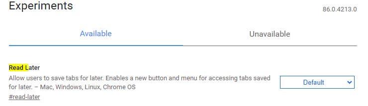 """Google Chrome z testową funkcją """"Przeczytaj później""""."""