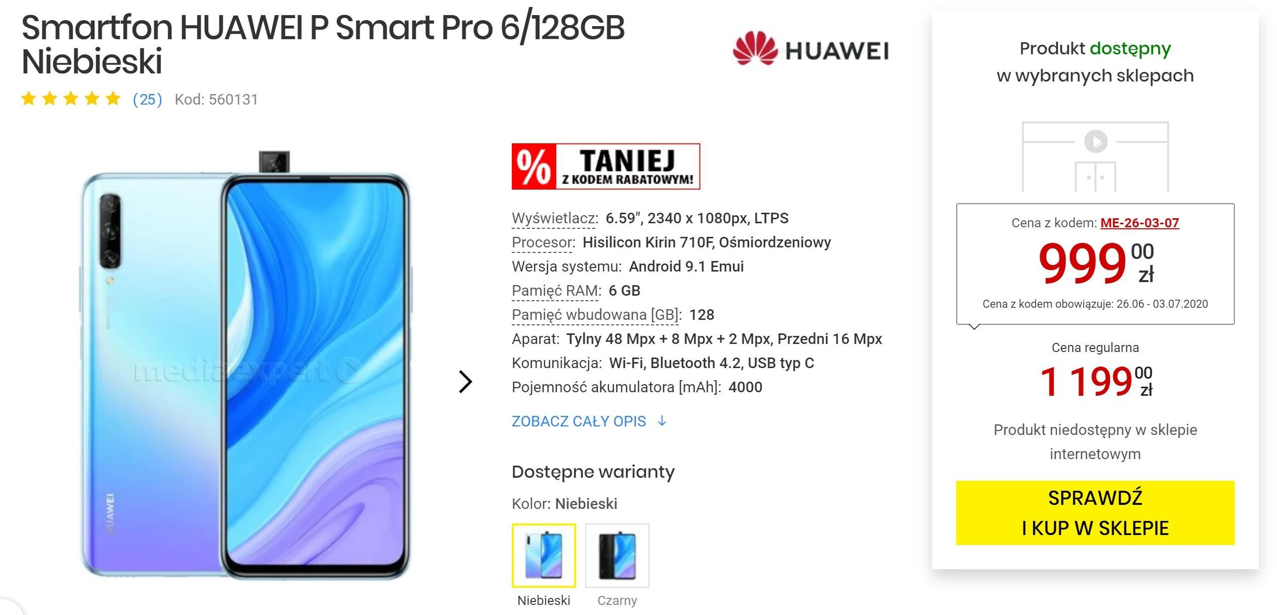 Huawei P Smart Pro taniej niż kiedykolwiek. Zmieścisz się w 1000 zł 18