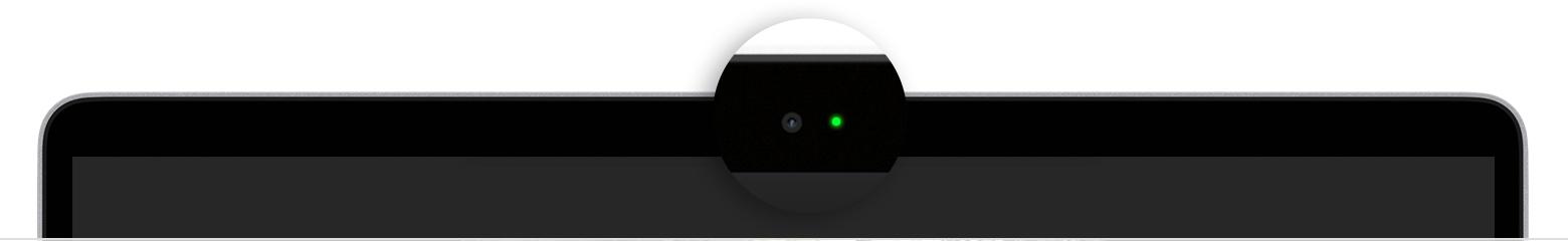 Kontrolka włączonej kamery w laptopie MacBook Air fot. Apple