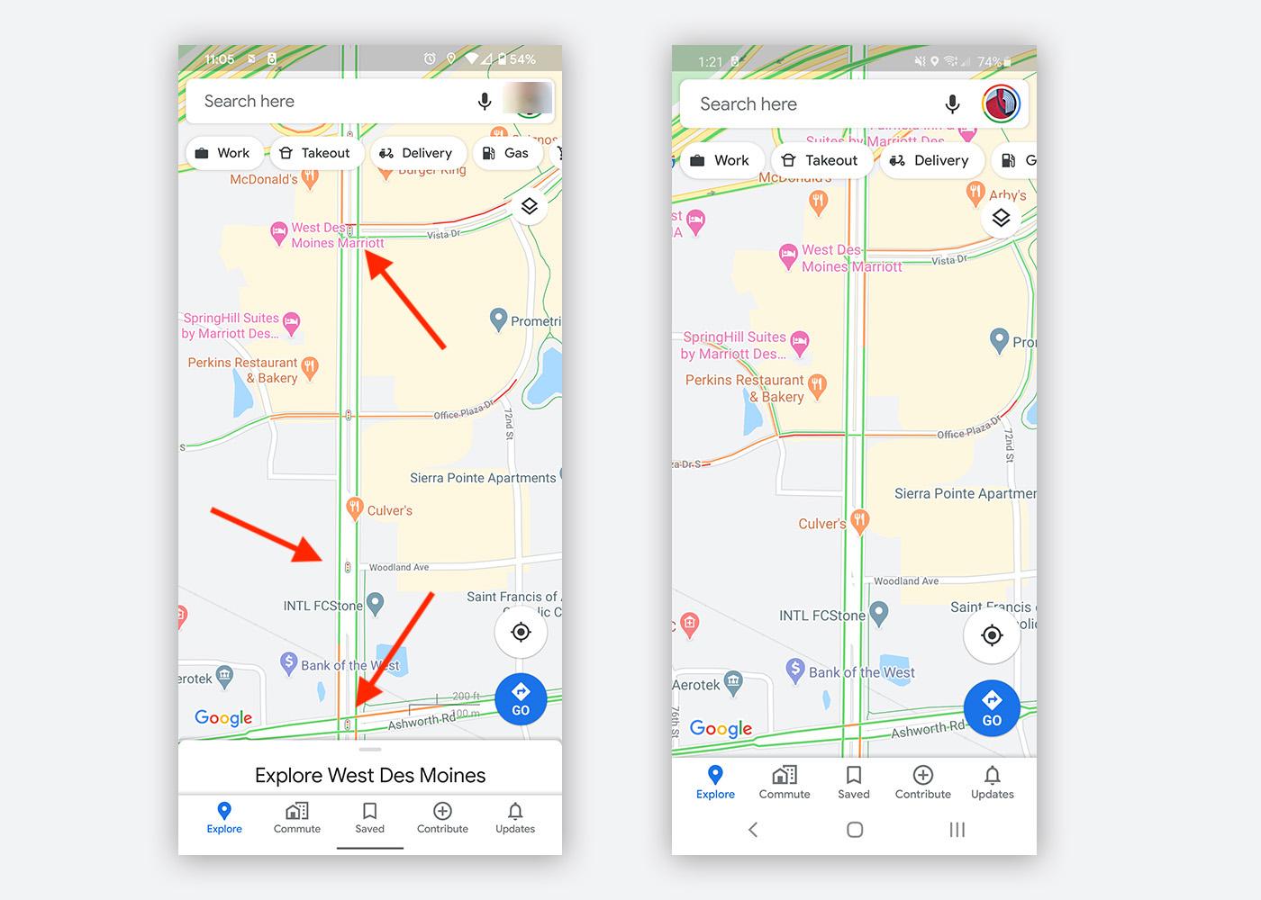Mapy Google z informacją o sygnalizacji świetlnej