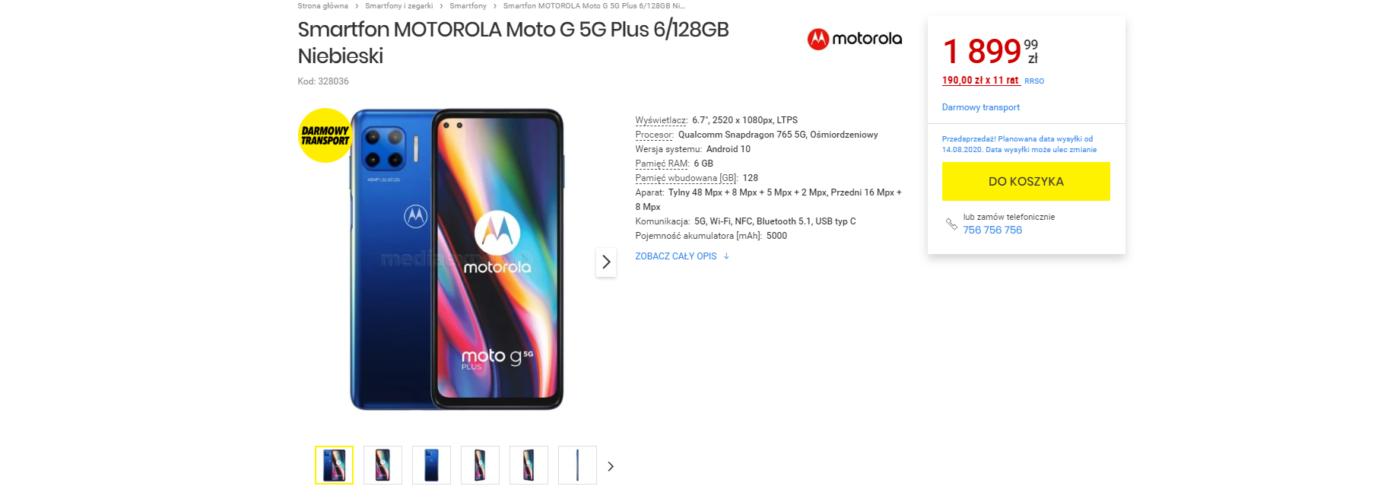 Motorola Moto G 5G Plus - znamy datę wejścia do sprzedaży w Polsce 20