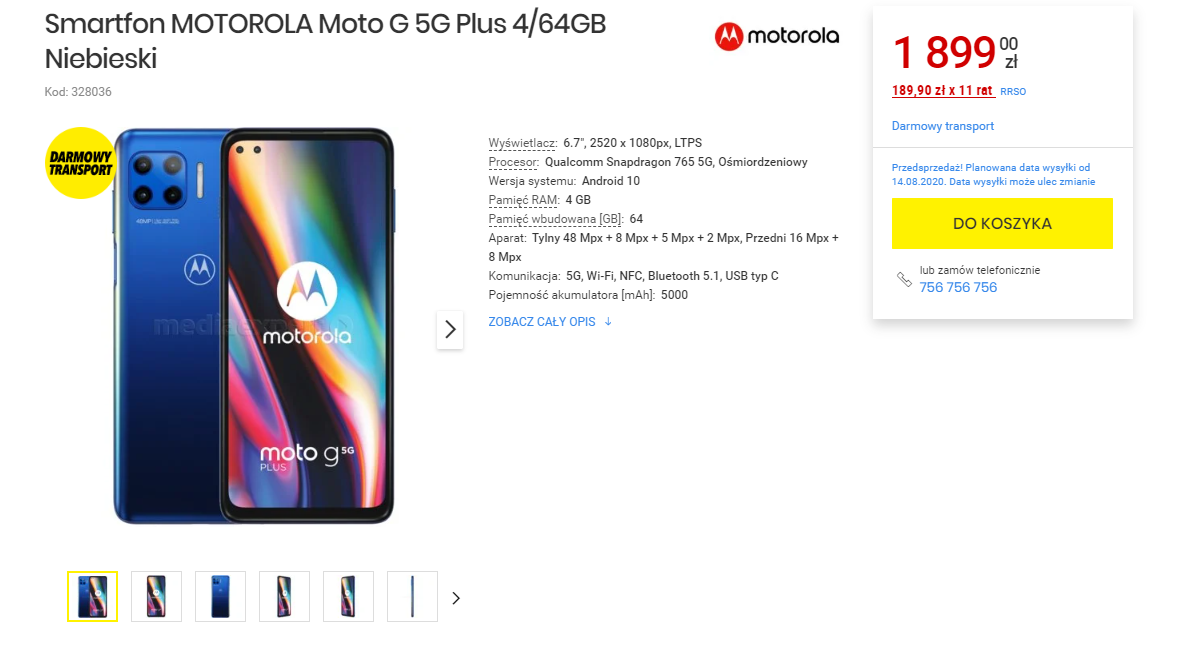 Motorola Moto G 5G Plus w Media Expert