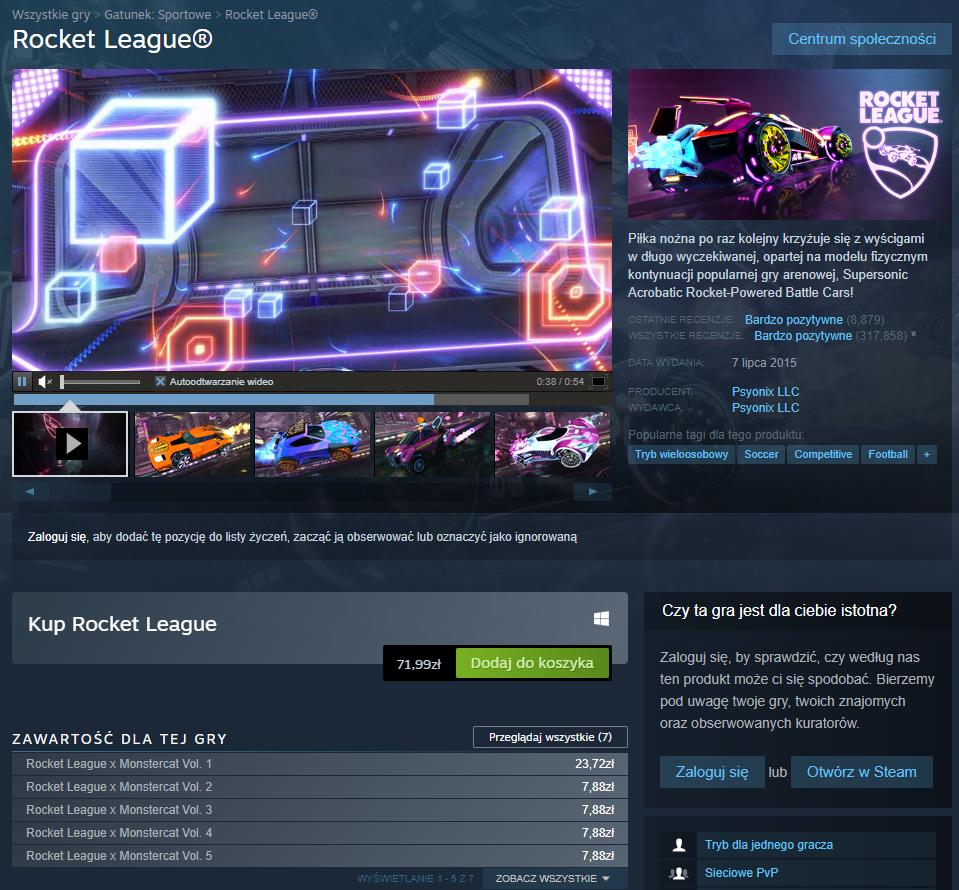 Rocket League w Steam