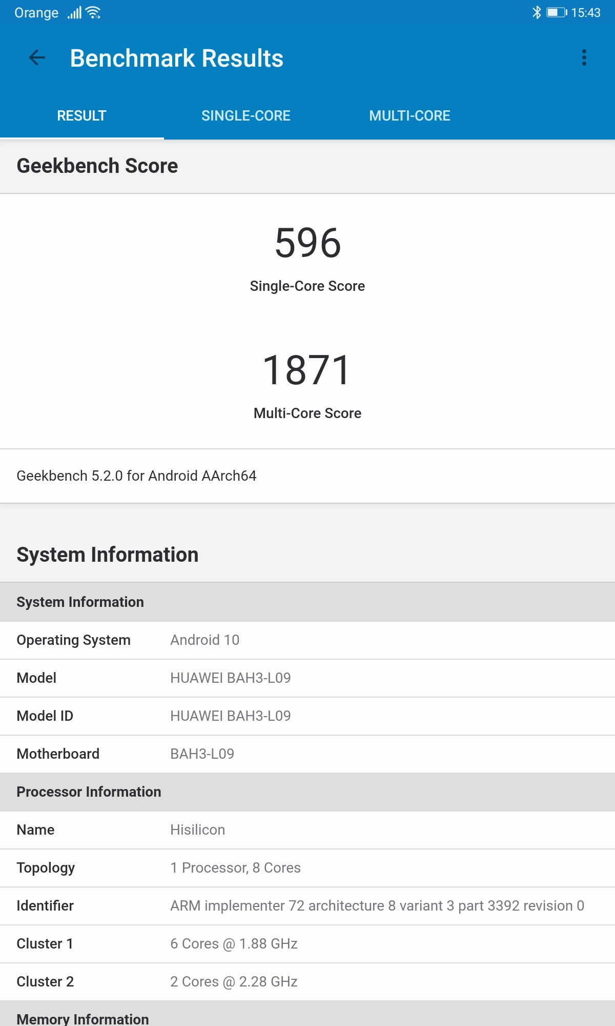 MatePad 10 Geekbench 5