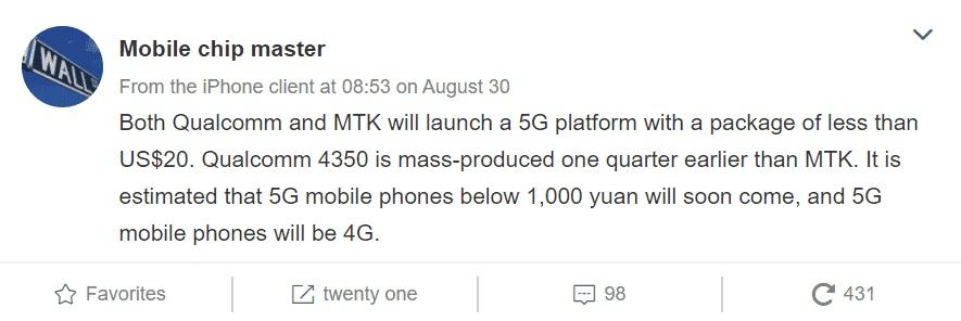 Qualcomm i MediaTek planują tańsze procesory z 5G